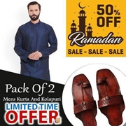 Buy 1 Get 1 Deal On Purple Kurta with 1 KOLHAPURI