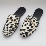Animal Printed velvet mule shoes with  an elegant Buckle WFW0036
