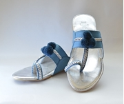 Blue & Silver Open Toe Flat Summer Shoes WFW 0039