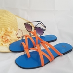 Blue and Orange multi-stripe open toed slippers WFW0009