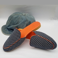 Checkered Denim Mule Shoes WFW0011