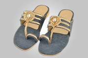 Denim slipper elegantly embellished with stones WFW0014