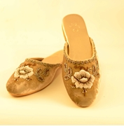 Fawn velvet mule shoes for women with beaded hand embroidery work WFW0022