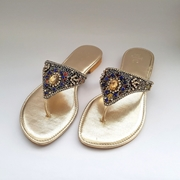 Golden flat slippers with multi-colour stone Embellishment WFW0003