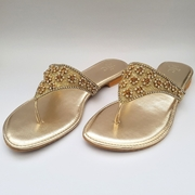 Golden flat slippers with stone embellishment WFW0004