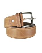 House of Leather - Camel Brown Genuine Leather Belt for Men - Single Stitched Formal Belt