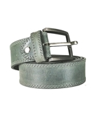 House of Leather - Grey Genuine Leather Belt for Men - Double Stitched Casual Belt