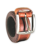 House of Leather - Tan Genuine Leather Belt for Men - Double Stitched Casual Belt