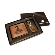 House of Leather Photo Engraved Cow Leather Wallet & Key Ring Gift Set