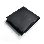 Sheep Leather Black Wallet for Men with Coin Pouch