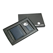 Gift Set - Leather Card Holder & Key Ring(Navy Blue)