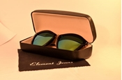 Buy BLACK CAT-EYE SUNGLASSES WITH GREEN MIRRORED POLARIZED LENS WG-0015  online