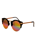 CAT EYE SUNGLASSES WITH MULTI-COLOR REFLECTIVE MIRROR LENS WG-0019