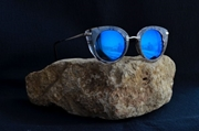CAT EYES SUNGLASSES WITH BLUE REFLECTIVE LENS WG-0020