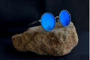 ROUND FRAME SUNGLASSES WITH BLUE REFLECTIVE LENS WG-0025