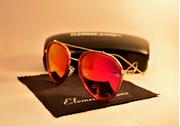 UNISEX AVIATOR SUNGLASSES WITH POLARIZED RED MIRRORED LENS WG-0026