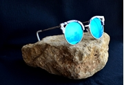 WHITE MARBLE FINISH CLUB MASTER SUNGLASSES WITH BLUE REFLECTIVE LENS WG-0030