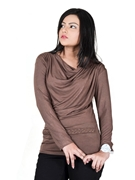 Brown Top with Braided Waistband WT-0035