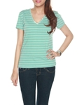 Mint colour V-Neck stripe t-shirt with satin piping WT-0042