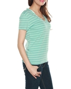 Buy Mint colour V-Neck stripe t-shirt with satin piping WT-0042  online