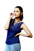 Navy Blue Wide V-Neck Top WT-0043