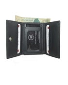 Buy Black Tri Fold Leather Wallet  online