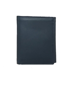 Navy Blue Tri Fold Leather Wallet