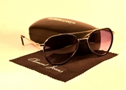 AVIATOR SUNGLASSES WITH BLACK POLARIZED LENS & RIMMED FRAME MG-0048
