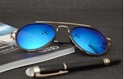 Buy AVIATOR SUNGLASSES WITH BLUE MIRRORED LENS MG-0049  online