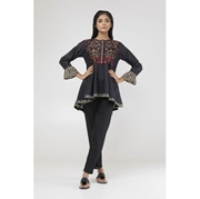 Black Checked Embroidered Kurti for Women Mardaz-1120