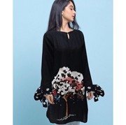 Black Cotton flower Embroidered Kurti For Women Mardaz-1142