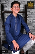 Strong Blue Kurta Shalwar for Infants Kids Teens FR#1 14 to 19yrs