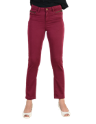 Maroon Cotton-Stretch Slim Fit Trousers for Women