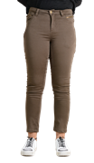 Olive-Cotton-Stretch Women Slim Fit Trousers