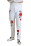 Women's Basic White Flower Embriodary Stretch Pants