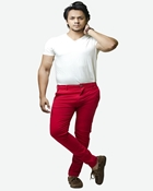 Buy Machine Red-Cotton-Stretch Men'S Chino-Slim Fit  online