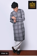 Charcoal Printed Kurta Shalwar for Infants|Kids|Teens FR#10 14 to 19yrs