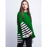 Green Stripes Panel Kurta For Women Mardaz-1158