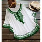 White Poncho Green Embroidered For Women Mardaz-1162