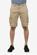 Camel Printed Cotton Cargo Short - Camel printed cargo short