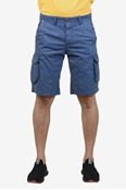 Buy Navy Printed Cotton Cargo Short - Navy Printed cargo short  online