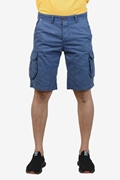 Navy Printed Cotton Cargo Short - Navy Printed cargo short