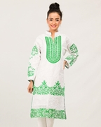 Green White Embroidered Kurta For Women Mardaz-1157
