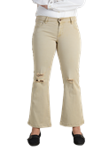 Women's Beige Basic Boot-cut Stretch Pants (PLAZO) - Tiffosi Basic Beige