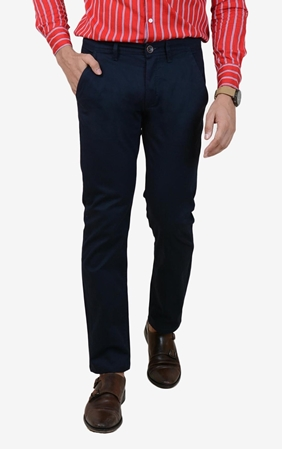 Buy Comfortable Navy Stretchable Chino - IGN Navy Chino  online