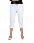 White Three-Quarter Stretch Pants For Women - ELOS Basic Three-Quarter White