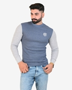 IGNITE Navy Grey Sporty Thermal Crew Neck - Thermal Blue H.Grey