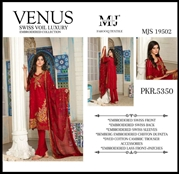 Moosa Jee Venus Swiss Voile Luxury Embroidered 3PCS UNSTICHED COLLECTION MJS 19502 (RED COLOUR)