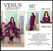 Moosa Jee Venus Swiss Voile Luxury Embroidered 3PCS UNSTICHED COLLECTION MJS 19506 (PURPLE COLOUR)