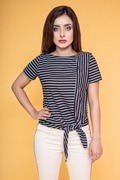 Women's Striped Knot Hem Top - Black